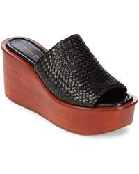 Michael Kors - Jane Woven Leather Wedge Sandals - Lyst
