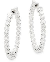 Saks Fifth Avenue Diamond & 14k White Gold Hoop Earrings - Multicolour