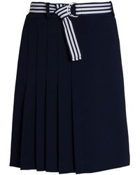 Karl Lagerfeld Belted Pleated Skirt - Blue