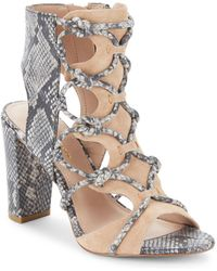 BCBGeneration - Fay Snake-embossed Leather Cage Sandals - Lyst