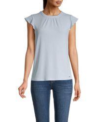 Calvin Klein Women's Flutter-sleeve Top - Light Blue - Size Xl