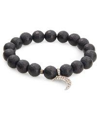 Bavna - Onyx & Pavã© Diamond Crescent Charm Bracelet - Lyst