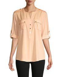 Calvin Klein Rolled-sleeve Pocket Blouse - Multicolour