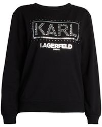 Karl Lagerfeld Embellished Logo Sweatshirt - Black