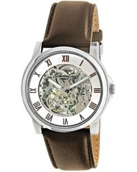 Kenneth Cole Automatic Skeleton Dial Leather Strap Watch - Brown