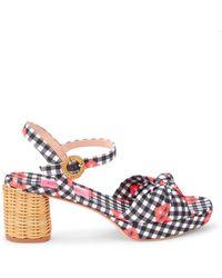 Kate Spade Women's Hayden Gingham & Floral Block-heel Sandals - Fresh White - Size 7 - Multicolour