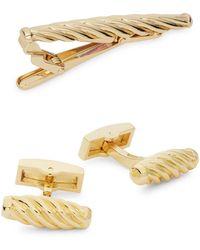 Hickey Freeman 3-piece Cufflinks & Tie Bar Set - Metallic