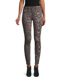 L'Agence Marguerite Leopard-print Ankle-cropped Trousers - Green
