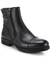 Aquatalia Hugh Shearling-lined Leather Ankle Boots - Black