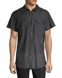 Buffalo David Bitton Frayed Short-sleeve Button-down Shirt - Black