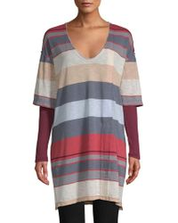 Free People - Kate Longline Striped V-neck Tunic - Lyst