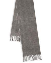 Saks Fifth Avenue Herringbone Cashmere Scarf - Gray
