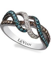 Le Vian Women's 14k Vanilla Gold Iced Blueberry, Vanilla And Chocolate Diamond Ring/size 7, 0.62 Tcw - Size 7 - Brown