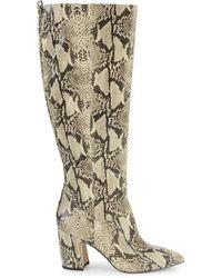 Sam Edelman Women's Hai Snakeskin-print Leather Knee-high Boots - Black Nude - Size 6 - Natural