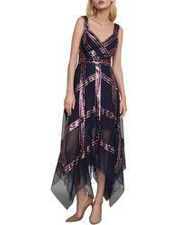 BCBGMAXAZRIA Sequined Tulle Dress - Blue