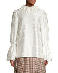 Tory Burch Women's Satin Stripe Ruffle Collar Blouse - New Ivory - Size 0 - White