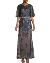 JS Collections Embroidered Flutter Sleeve Gown - Blue