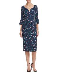 David Meister - Floral Bell Sleeve Dress - Lyst