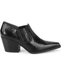 Sam Edelman Walton Croc-embossed Leather Booties - Black
