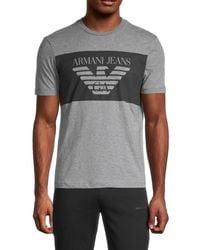 Armani Jeans Men's Heathered Logo Graphic T-shirt - Gray - Size L