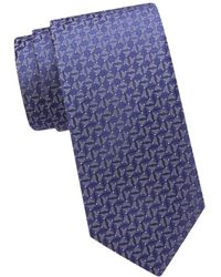 Eton Silk Geometric Tie - Blue