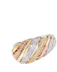 Effy Trio 14 Kt White Yellow And Rose Gold Striped Diamond Ring - Multicolor