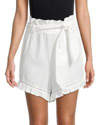 Jonathan Simkhai High-waisted Ruffle Cover-up Shorts - White