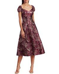 Teri Jon By Rickie Freeman Silk-blend A-line Dress - Red