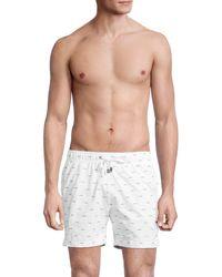 Onia Men's Charles Wave-print Swim Shorts - White - Size Xxl