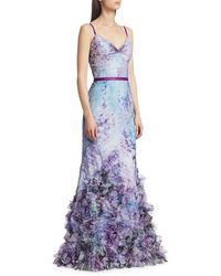 Marchesa notte Floral Tulle Mermaid Gown - Blue