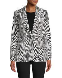 FRAME Zebra Striped Cotton-blend Blazer - Black