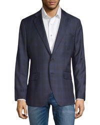 Saks Fifth Avenue Men's Windowpane Wool & Silk-blend Blazer - Blue - Size 44 R