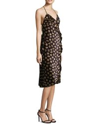 ABS By Allen Schwartz - Floral-print Velvet Wrap Dress - Lyst