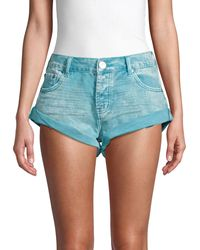 One Teaspoon Bandits Rolled Cuff Denim Shorts - Blue