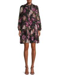 Julia Jordan Floral Shift Dress - Black