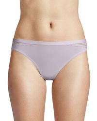 Ava & Aiden Lace-trimmed Thong - Blue