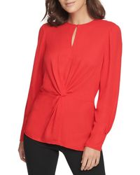 Donna Karan Women's Center Knot Keyhole Blouse - Cerise - Size Xl - Red