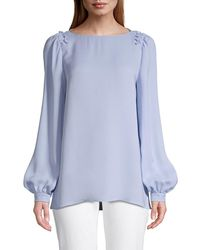 Lafayette 148 New York Women's Albright Bishop-sleeve Silk Blouse - French Blue - Size L