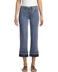 Karl Lagerfeld Wide-leg Frayed Jeans - Blue