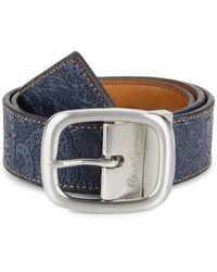 Robert Graham Men's Hartley Embossed Leather Belt - Black Gray - Size 40