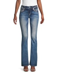 Miss Me Chloe Boot-cut Embellished Jeans - Blue