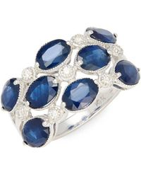 Effy - Diamond, Natural Sapphire & 14k White Gold Statement Ring - Lyst