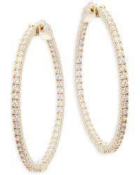 """Saks Fifth Avenue - Crystal Hoop Earrings/1.75"""" - Lyst"""
