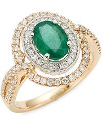 Effy 14k Yellow Gold, 14k White Gold, Emerald & Diamond Ring - Metallic