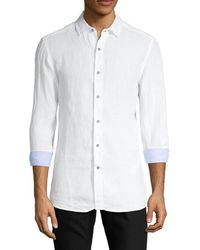 Report Collection Men's Long-sleeve Linen Shirt - Chambray - Size L - White