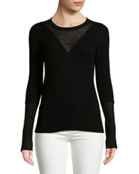 BCBGMAXAZRIA - Ribbed Roundneck Sweater - Lyst