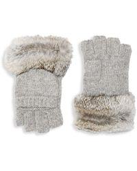 Adrienne Landau Rabbit Fur Pull On Gloves - Gray