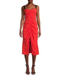 Jason Wu Crushed Ruched Front-slit Dress - Red