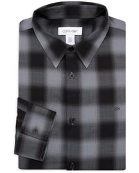 Calvin Klein Plaid Dress Shirt - Black