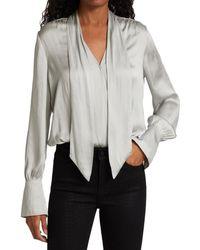 PAIGE Saffron Tie-neck Long-sleeve Bodysuit - Grey